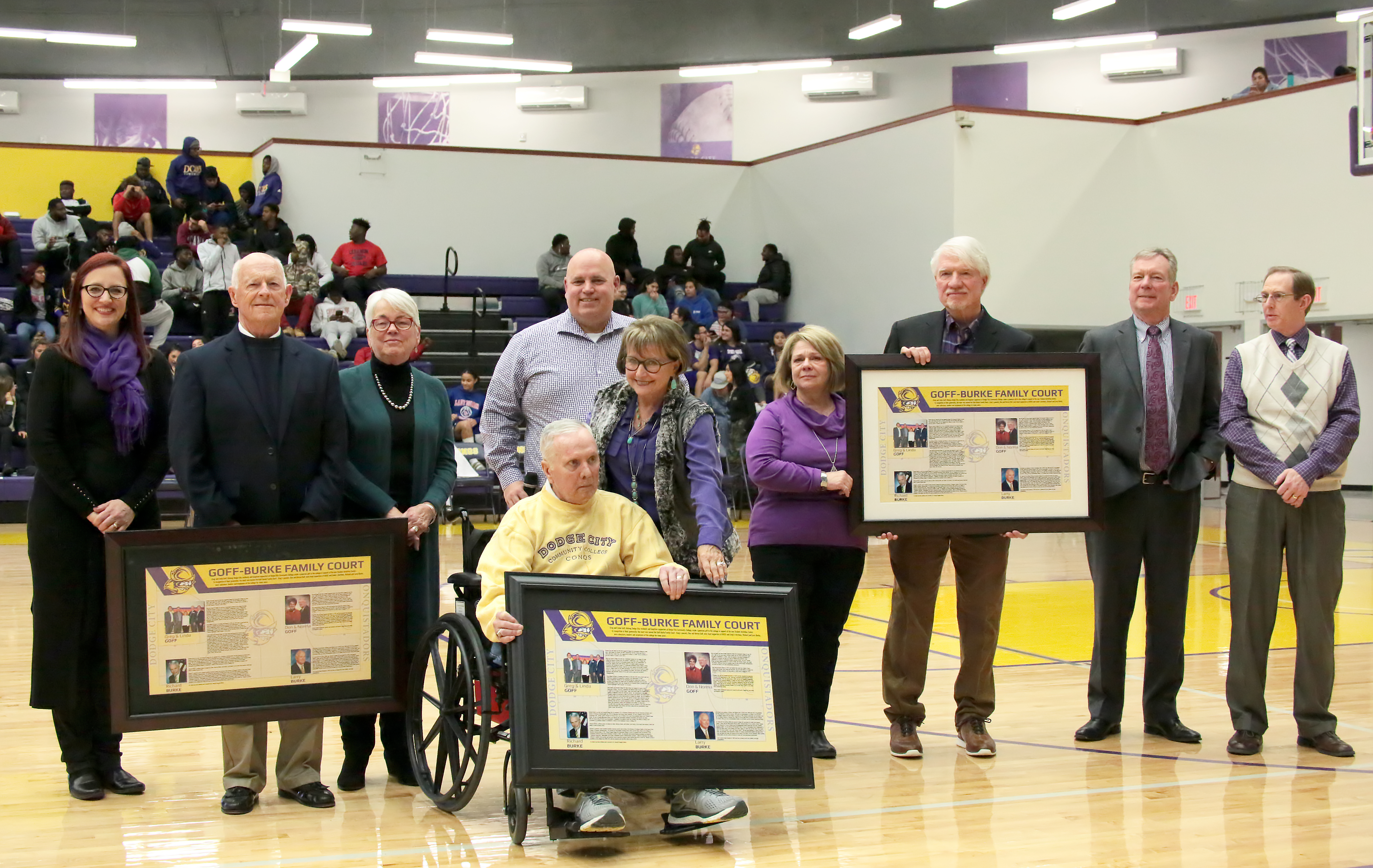 The Goff and Burke Families receiving the posters commemorating the court dedication