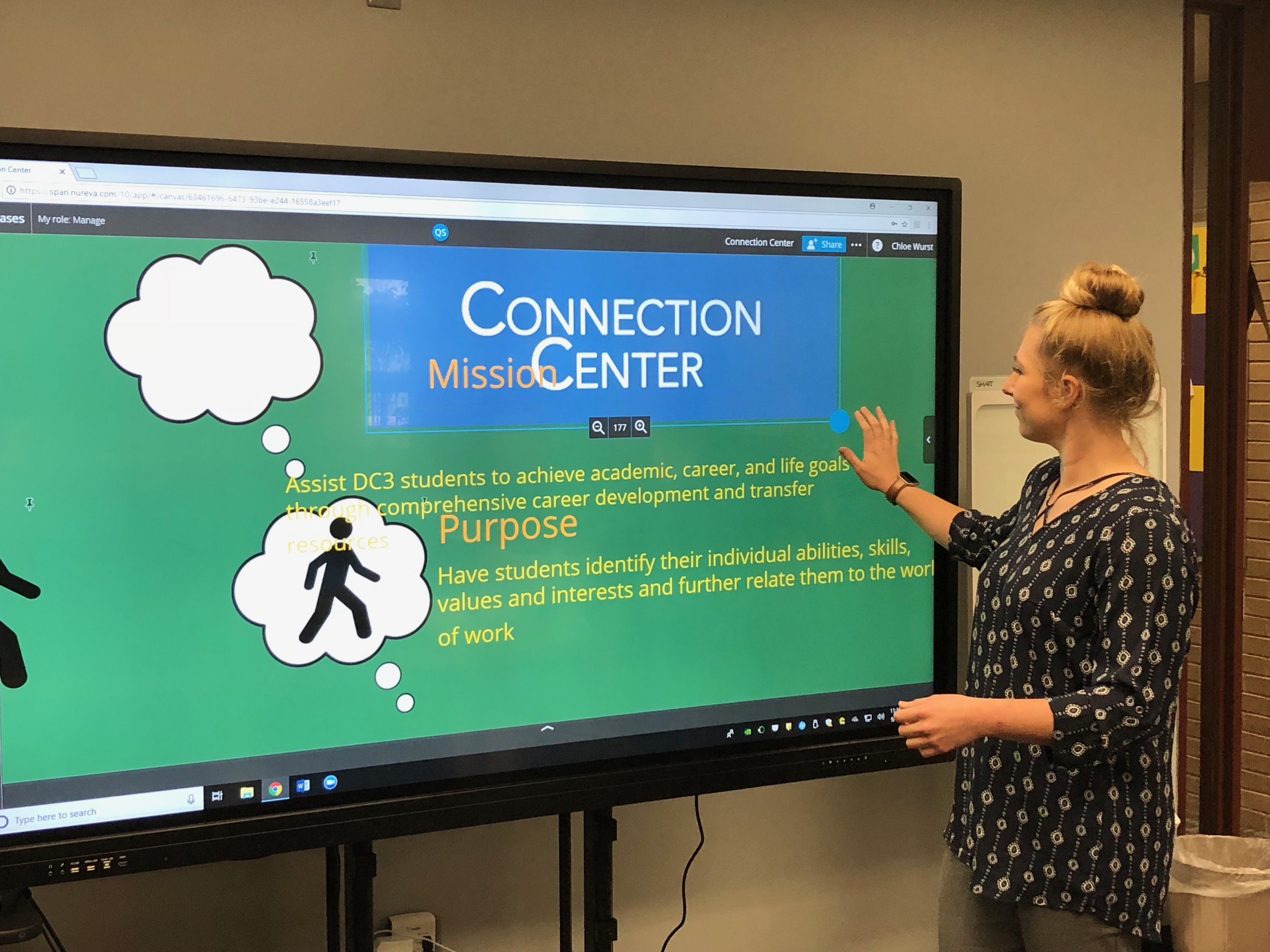 Chole Wurst of the Connection Center demonstrates interactive smart boards.
