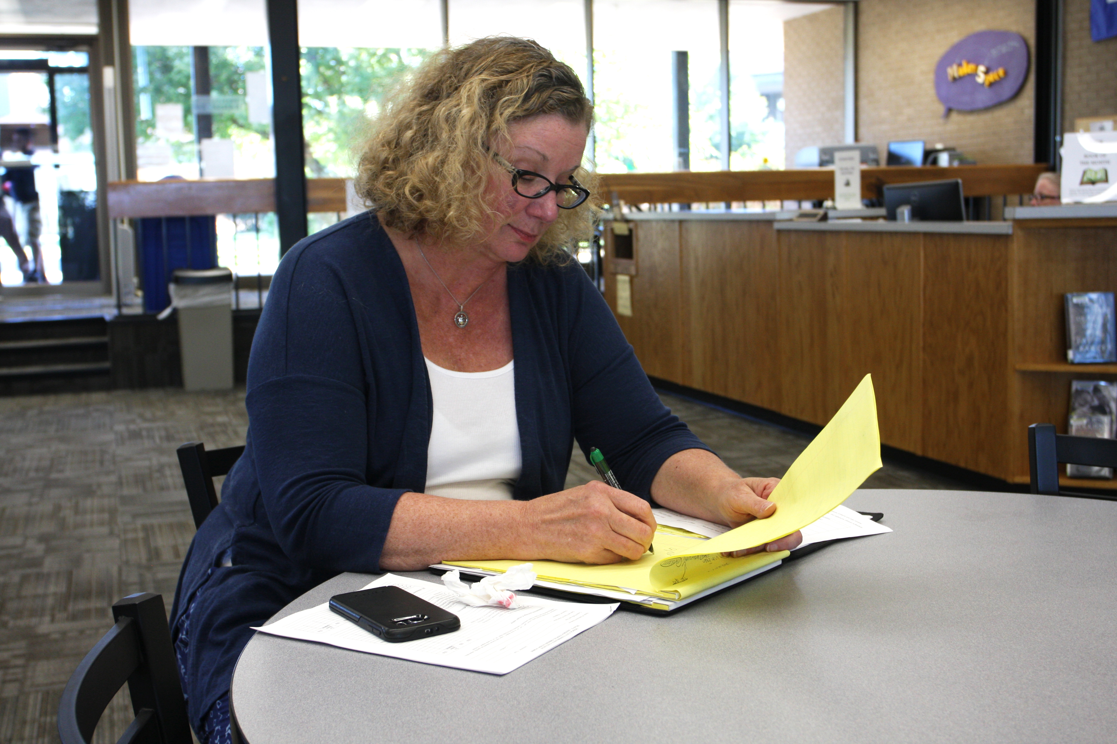 VP of Academic Affairs Dr. Jane Holwerda prepares for a class observation in the DC3 Library