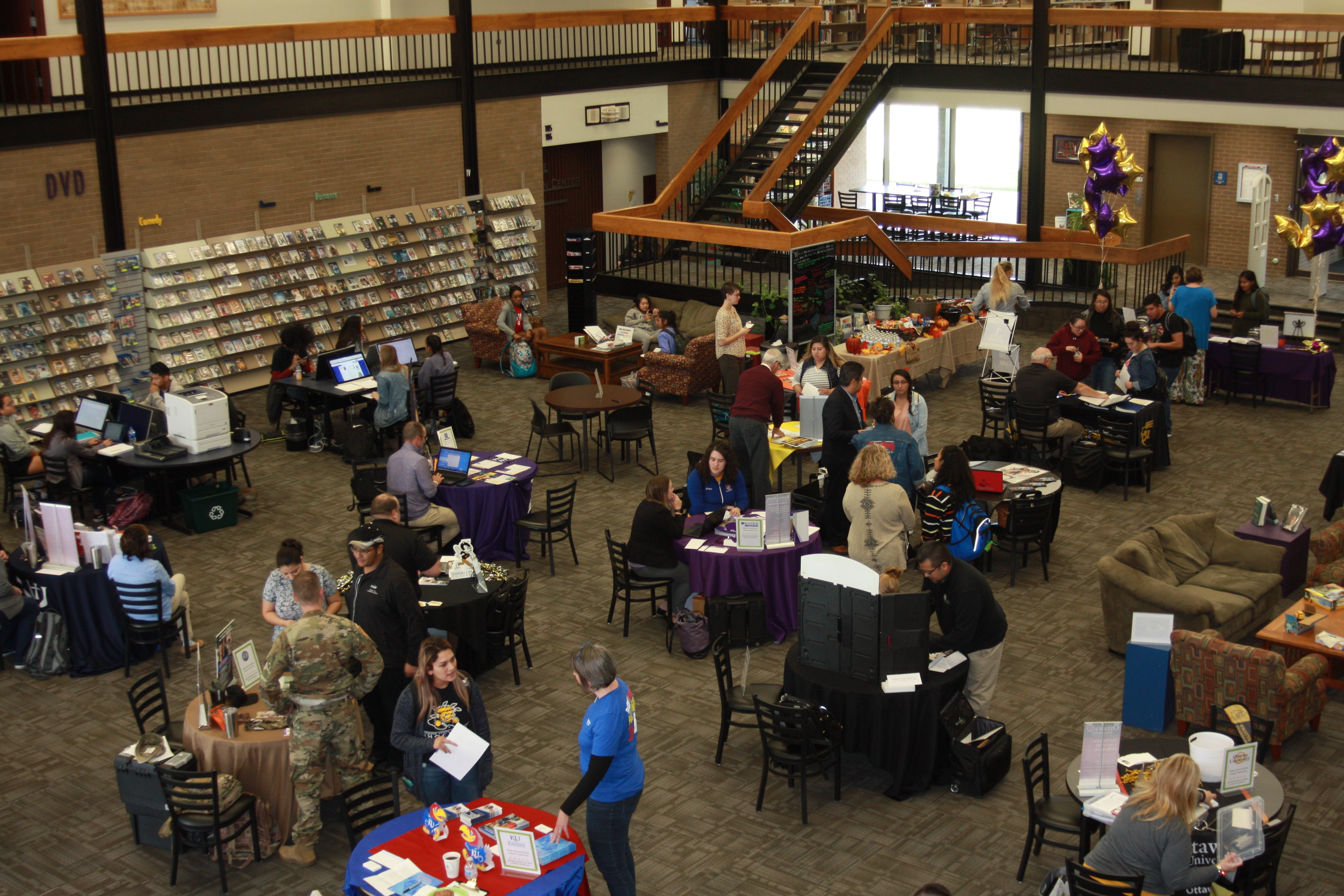 DC3 students gather in the DC3 Library to meet with some 19 colleges from various states during the first-ever transfer fair