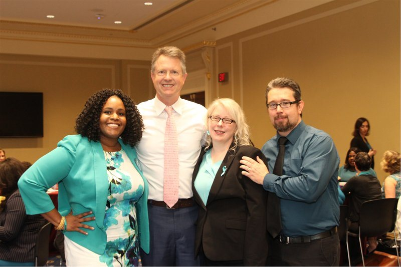 (left to right) PCOS Challenge Executive Director Sasha Ottey, Kansas First District Congressman Roger Marshall, PCOS Advocates Sara Wilson, & Justin Wilson