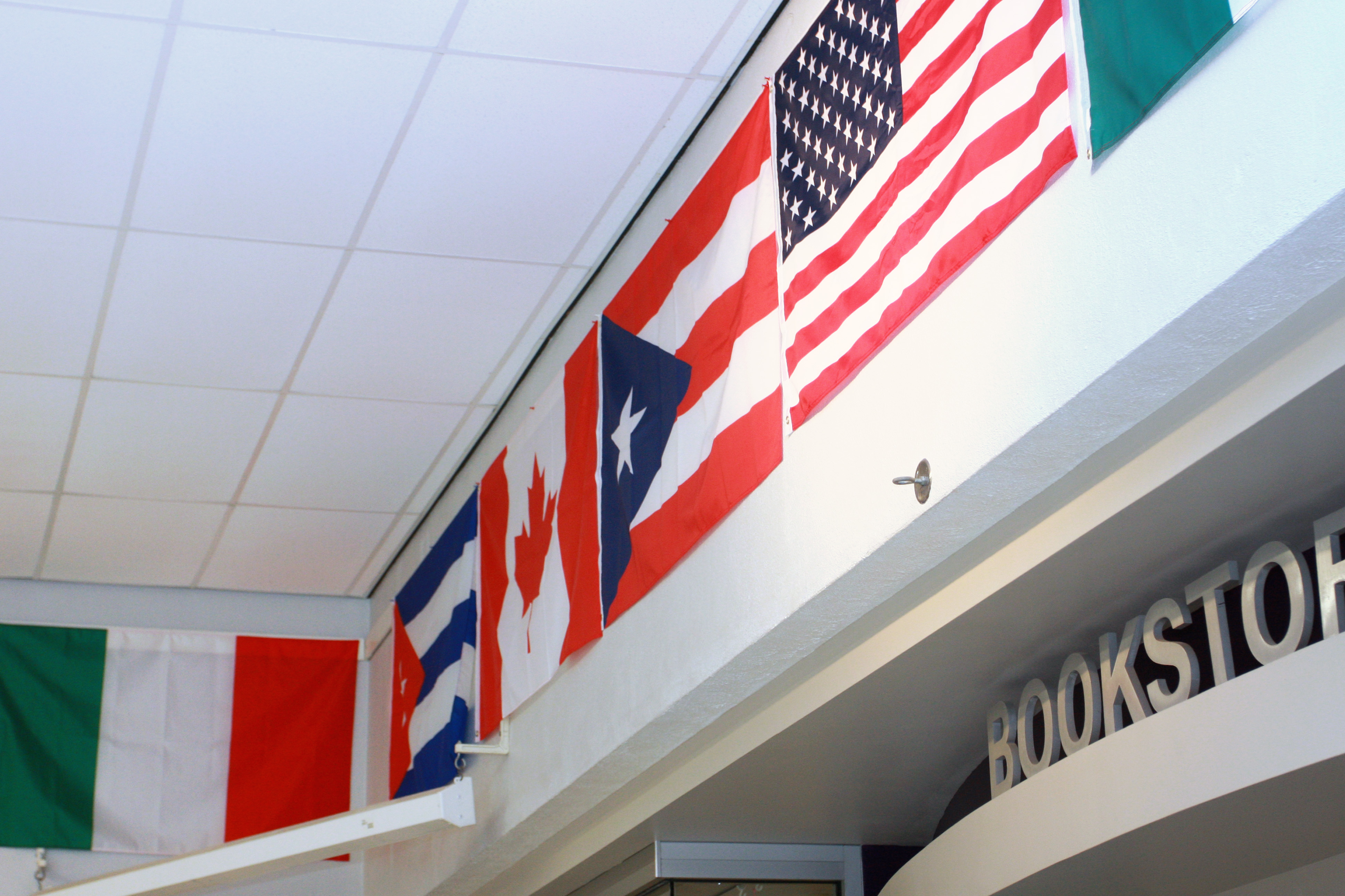 Closeup of international flags on display in the DC3 cafeteria