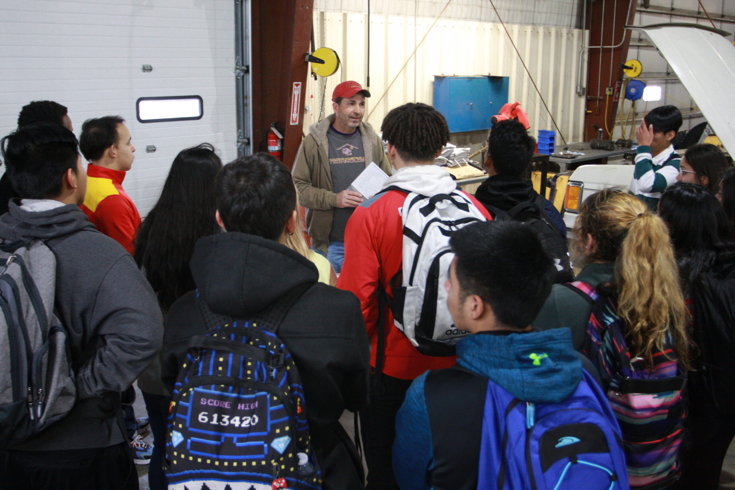 Pat Shiew, professor of Building Construction Technology speaking with students during the 2020 Junior Experience