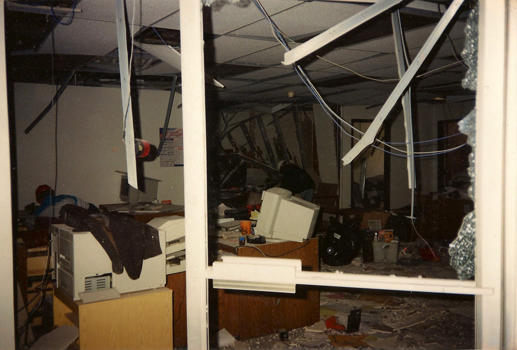 The damage done to the waiting area outside of Dr. Forgey's office by the Oklahoma City bombing.