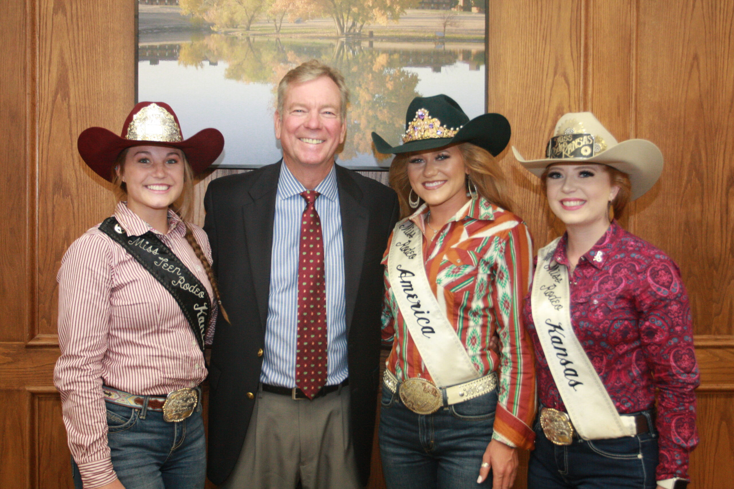DC3 President, Harold Nolte poses with Miss Rodeo America, Jordan Tierney; Miss Rodeo Kansas, Tiffany McCaffrey; and Miss Teen Rodeo Kansas, Katie Welsh