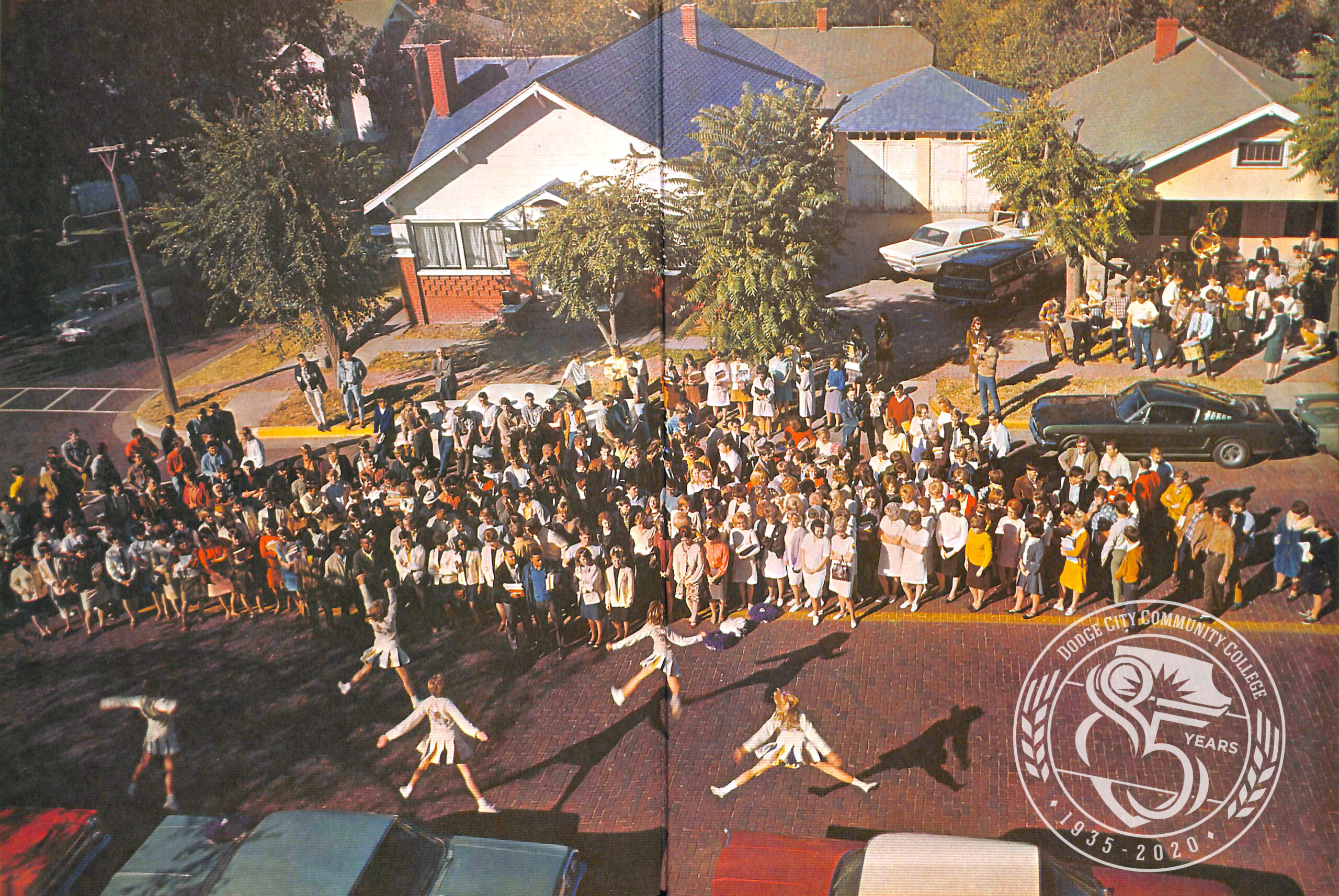 Photo of a pep rally held in front of the 1000 N. Second location.
