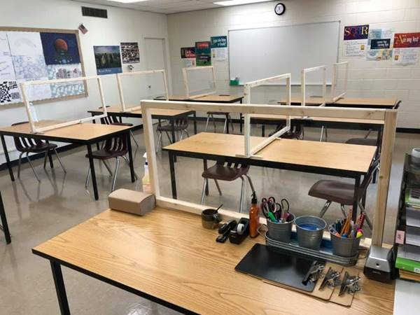 Picture of art class room with protective barriers