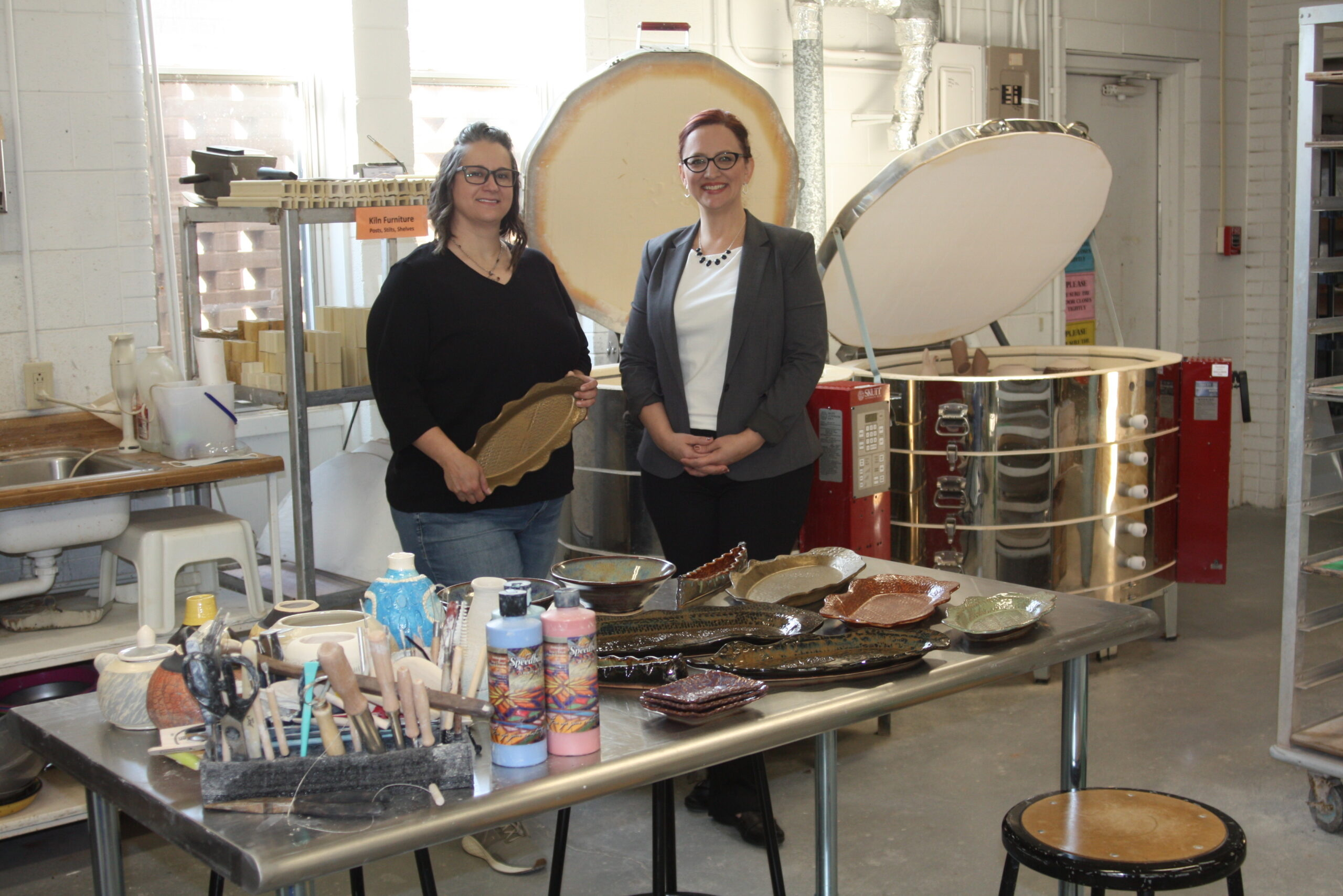 Pictured are (left to right) Jennifer Nolan, DC3 Associate Professor of Art, and Christina Haselhorst, DC3 Foundation Director