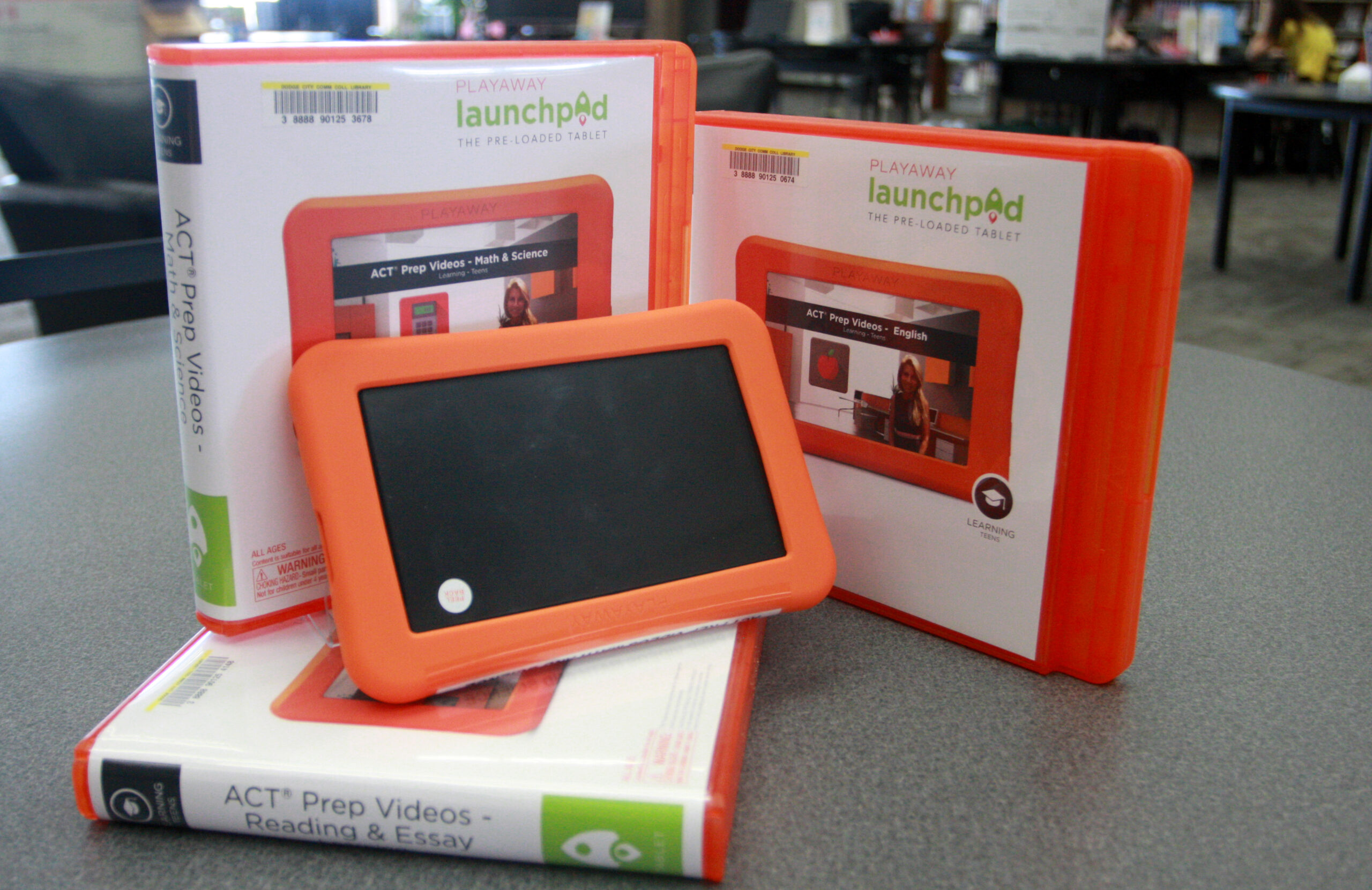 Lanchpad devices and cases displayed in the DC3 Library